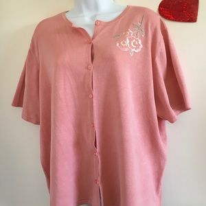 Pendleton Short Sleeve Light Pink Sweater-Size 3X